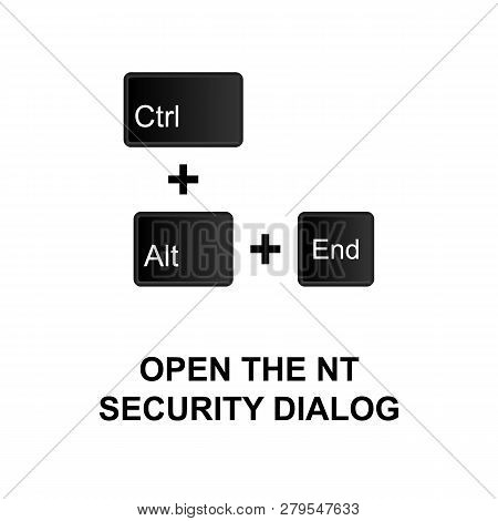 Keyboard Shortcuts, Open The Nt Security Dialog Icon. Can Be Used For Web, Logo, Mobile App, Ui, Ux