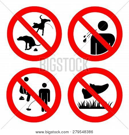 No Pooping And Peeing People And Pets, Do Not Walk On Lawns, No Spitting Sign. Collection Of Symbols