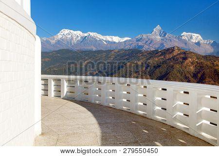 Annapurna View From World Peace Pagoda Or Stupa Near Pokhara Town, Mount Annapurna Range, Nepal Hima
