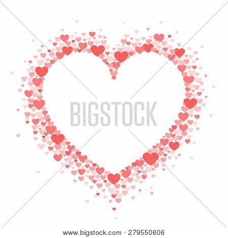 Frame Of Coral Hearts In The Shape Of A Hart. Vector Valentine's Day Greeting Card Or Wedding Invita