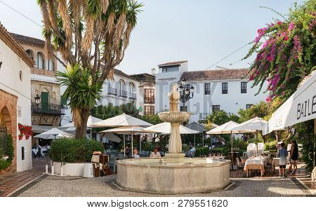 Marbella, Spain - August 26th, 2018. Plaza Fernando Alcala In The Old Town Of Marbella, Spain. The P