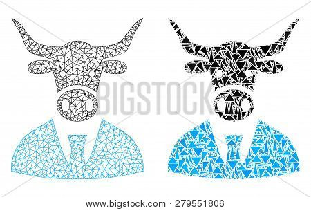 Mesh Vector Cow Boss With Flat Mosaic Icon Isolated On A White Background. Abstract Lines, Triangles