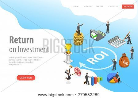 Flat Isometric Vector Landing Page Template Of Return On Investment, Roi.