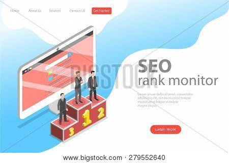 Flat Isometric Vector Landing Page Template Of Seo Ranking Monitor.