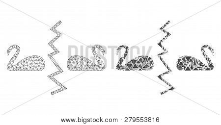 Mesh Vector Divorce Swans With Flat Mosaic Icon Isolated On A White Background. Abstract Lines, Tria