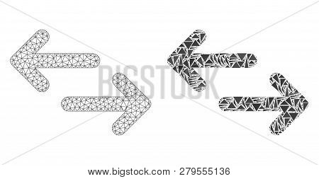 Mesh Vector Exchange Arrows With Flat Mosaic Icon Isolated On A White Background. Abstract Lines, Tr