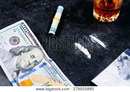 Narcotics Addiction - Alcohol, Drugs And Cocaine, Top View