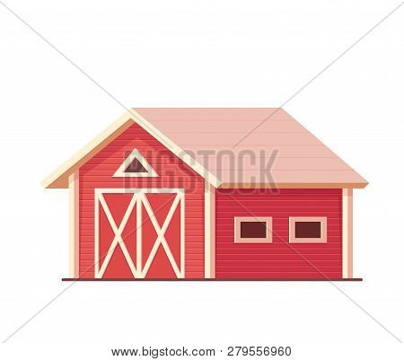 Agriculture. Red Farm Barn Or Ranch Isolated On White.
