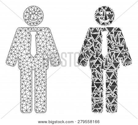 Mesh Vector Happy Boss With Flat Mosaic Icon Isolated On A White Background. Abstract Lines, Triangl