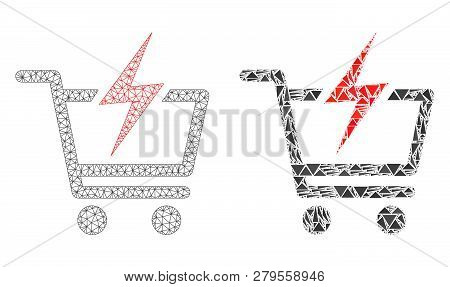 Mesh Vector Instant Shopping With Flat Mosaic Icon Isolated On A White Background. Abstract Lines, T