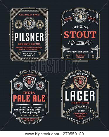 Vector Thin Line Vintage Beer Labels