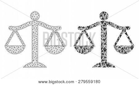 Mesh Vector Judge With Flat Mosaic Icon Isolated On A White Background. Abstract Lines, Triangles, A
