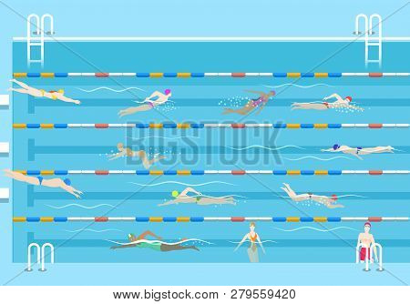 People In Pool. Swim Men And Women In Public Swimming Pool Vector Illustration, Swimmers On Lanes