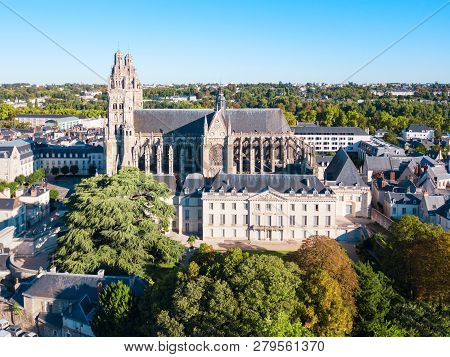 Tours Cathedral Aerial Panoramic View, A Roman Catholic Church Located In Tours City In The Loire Va