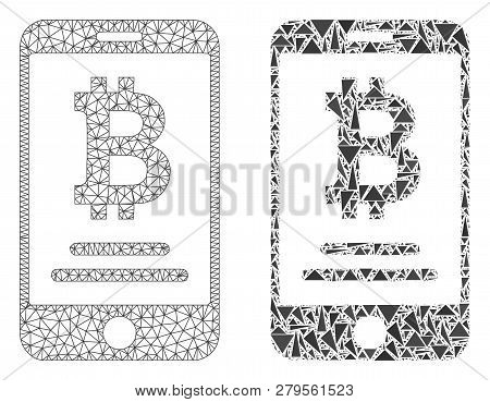 Mesh Vector Mobile Bitcoin Account With Flat Mosaic Icon Isolated On A White Background. Abstract Li