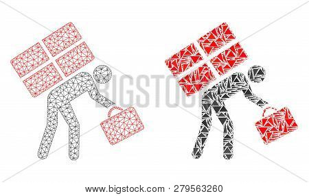 Mesh Vector Refugee Persona With Flat Mosaic Icon Isolated On A White Background. Abstract Lines, Tr