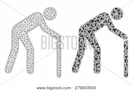 Mesh Vector Retired Persona With Flat Mosaic Icon Isolated On A White Background. Abstract Lines, Tr