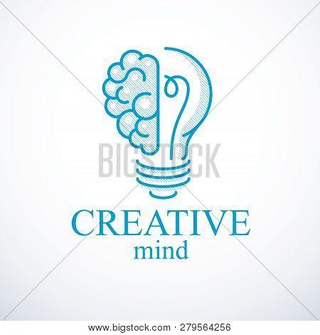 Creative Brain Concept, Intelligent Creation Vector Logo. Light Bulb With Half Of Human Anatomical B