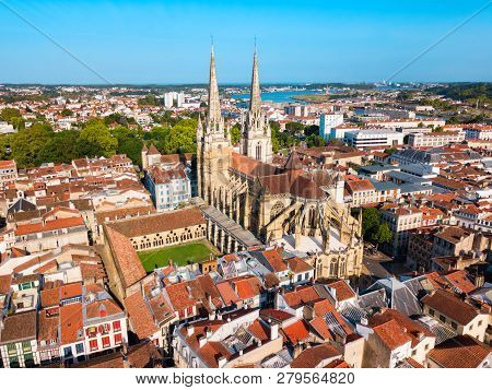 The Cathedral Of Saint Mary Or Our Lady Of Bayonne Aerial Panoramic View, Roman Catholic Church In B