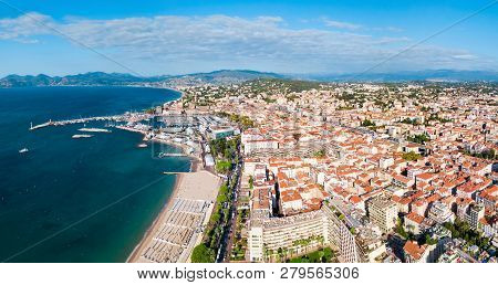 Cannes Beach Aerial Panoramic View. Cannes Is A City Located On The French Riviera Or Cote Dazur In