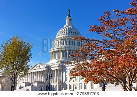 United States Capitol In Autumn, Washington Dc, Usa. Architectural Glory Of Neoclassical Monument Fr