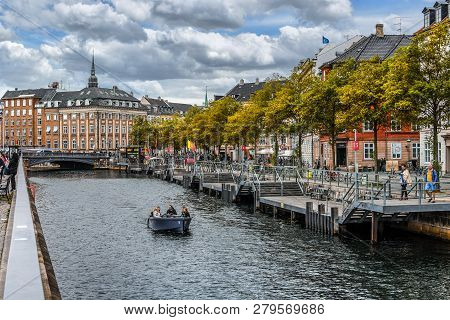 Copenhagen, Denmark - September 12 2018: A Group Of People Enjoy A Canal Cruise Near Van Stranden An