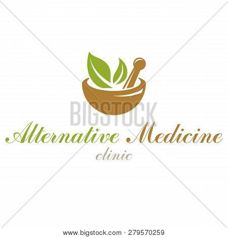 Mortar And Pestle Graphic Vector Symbol Composed With Green Leaves. Homeopathy Creative Logo For Use