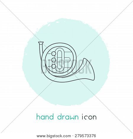 French Horn Icon Line Element.  Illustration Of French Horn Icon Line Isolated On Clean Background F