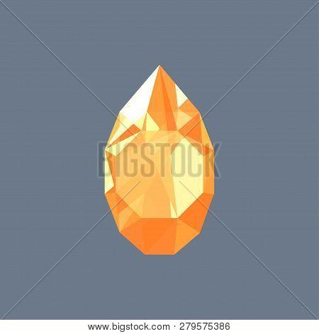 Golden Topaz Gem Shining Logo Vector Drop Shaped