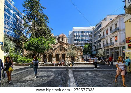 Athens, Greece - September 17 2018: The Church Of Panagia Kapnikarea, The Oldest Church In Athens, L