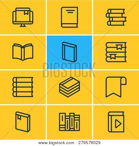 Vector illustration of 12 education icons line style. Editable set of learn, bookmark, encyclopedia and other icon elements. poster