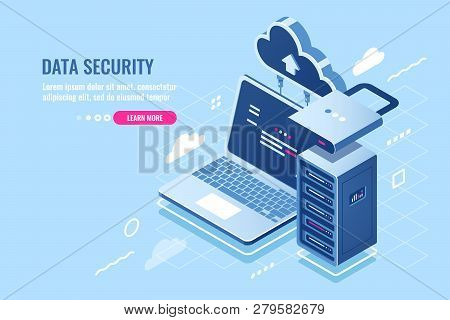 Internet Data Security Concept, Laptop With Server Rack And Clock, Protection And Encryption Data Tr