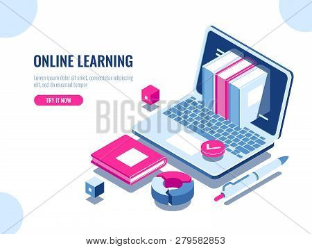 Catalog Of Online Courses Isometric Icon, Online Education, Internet Learning, Laptop With Book On S