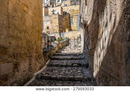 A Cat Walks Through A Narrow Alley With Stairs In A Residential District Filled With Abandoned Build