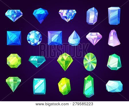 Gemstones Icons, Cut Gems And Crystals Of Round, Square Or Diamond Shape. Vector Jewelry, Rhinestone