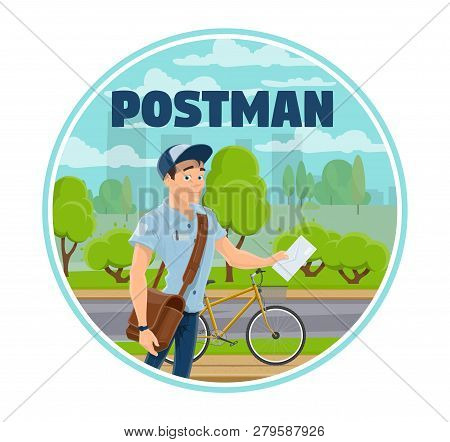 Express Mail Delivery Service Worker Or Postman With Letter And Bicycle. Vector Mailman With Leather