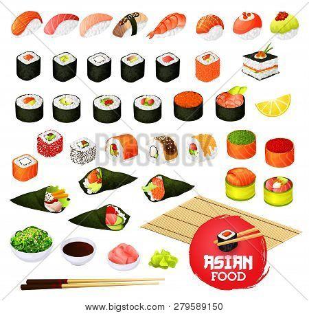 Sushi And Rolls Types, Japanese Cuisine Cooking. Vector Temaki And Sashimi, Ikura And Kappa Or Syaki