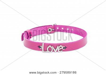 Pink leather choker on a white background. Side view poster