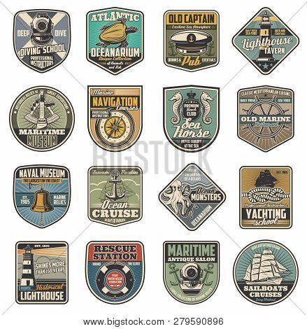 Nautical Vector Icons, Marine Club And Sailor Schools Vintage Heraldry. Diving Helmet And Turtle, Pu