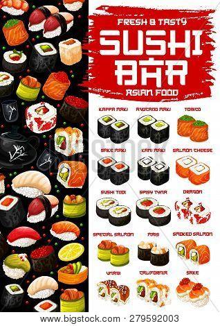Sushi And Rolls, Japanese Cuisine. Vector Kappa With Avocado, Tobico Or Sake With Karu Maki, Salmon