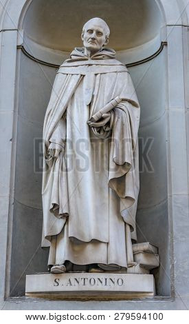 Saint Antonio Anthony of Padua Statue Famous Florentine Uffizi Gallery Florence Italy. Anthony close follower of Saint Francis.  Statue by Giovanni Dupre in 1840. poster