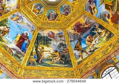 Florence, Italy - September 27, 2017 Adam Eve Cain Abel Paintings Dome San Lorenzo Medici Church Flo