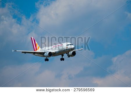 Zurich, Switzerland - July 19, 2018: Germanwings airlines airplane preparing for landing at day time in international airport