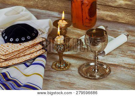 Shabbat Shalom Challah And Wine Traditional Jewish Sabbath Ritual