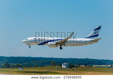 Zurich, Switzerland - July 19, 2018: Elal Israel airlines airplane preparing for landing at day time in international airport