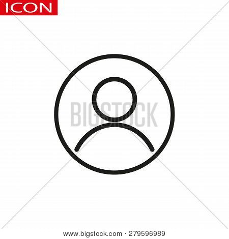 User, Account Circular Line Icon. Round Simple Sign. Flat Style Vector Symbol