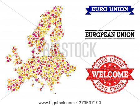 Mosaic Map Of Euro Union Formed With Colored Flat Stars, And Grunge Textured Stamps, Isolated On An