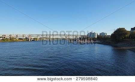 The Willamette River And Its Bridges In Downtown Portland, Oregon.