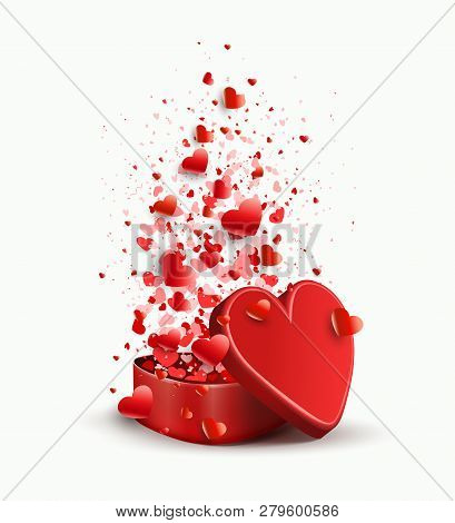 Composition With A Casket Of Red Color And Set Of Hearts,