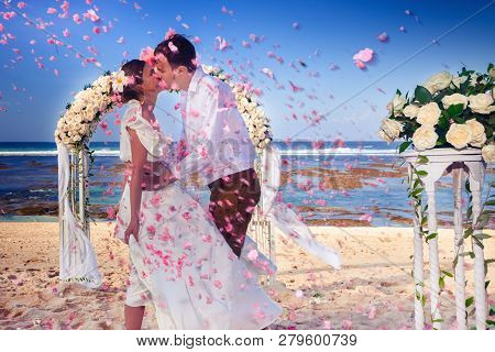 Wedding Couple Just Married At The Beach, Bali